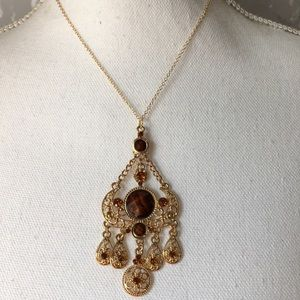 Gold chandelier Victorian brown necklace
